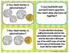Money Sense Task Cards & Recording Sheets CCS: 2.MD.C.7