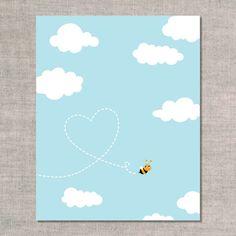 nursery / playroom / children's room artwork. prints & graphics: bee happy heart