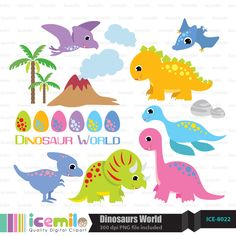 Multiple Dinosaurs World Digital Clipart         March 29, 2014 at 11:28AM