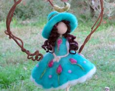 Fairy ornament Needle felted Waldorf inspired doll sitting on