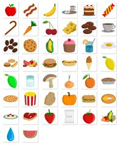 Cute Icons (Online Game) by Subcutaneo Creative Studio, via Behance Healthy And Unhealthy Food, Healthy Kids, Kids Math Worksheets, Preschool Activities, Preschool Food, Spanish Lessons For Kids, English Teaching Materials, Cute Icons, Food Icons