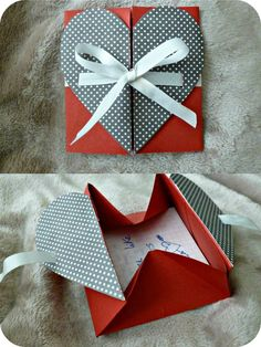 ~origami heart box card~ paper cut scissors fold message love heart valentine gift origami ribbon bow: