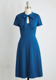 Archival Revival Dress in Lake Blue by ModCloth - Blue, Solid, Cutout, Vintage Inspired, 40s, A-line, Short Sleeves, Woven, Better, Exclusives, Private Label, Pinup, Long, Colorsplash, Variation