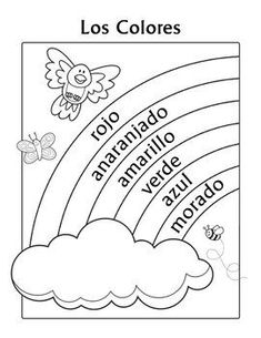 Los Colores Spanish Colors Rainbow Coloring Page is designed for children in 1st Grade, 2nd Grade and 3rd Grade who are learning their basic Spanish color names.   This coloring page features super-cute whimsical critters (a bird, a butterfly and a bee) with a rainbow and a cloud.: