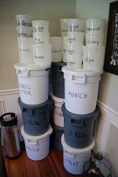 Homebrew Pantry - Great idea for storing your staple grains! Nano Brewery, Home Brewery, Home Brewing Beer, Make Your Own Beer, How To Make Beer, Gin, Vodka, Brewery Design, Beer Making Kits
