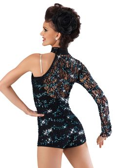 One Sleeve Sequin Biketard -Weissman Costumes