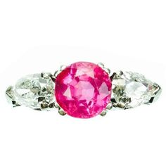 Preowned Antique Burma No Heat Pink Sapphire Diamond Platinum Ring ($8,500) ❤ liked on Polyvore featuring jewelry, rings, pink, antique diamond rings, pear cut diamond ring, platinum band ring, sapphire band ring and platinum diamond rings