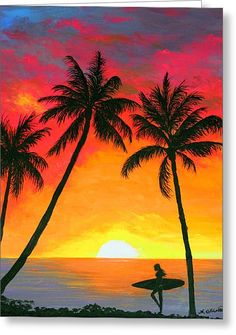 Tropical Sunset Surfer Greeting Card by Amy Scholten