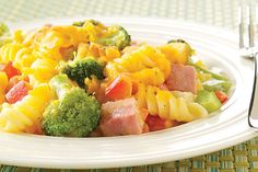 Cheesy Broccoli And Ham Rotini Recipe — Dishmaps