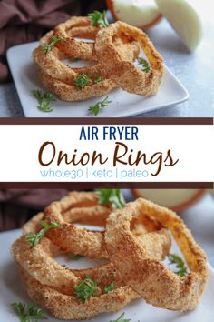 These air fryer onion rings are a crispy way to eat onion rings with no breadcrumbs. Made with almond flour, flax seed and seasonings, they are a great addition to whole30 low carb or keto ways of eating. Onion Rings Air Fryer, Air Fryer Recipes Onion Rings, Onion Rings Recipe, Air Fryer Recipes Vegetarian, Vegetable Recipes, Healthy Onion Rings, Gluten Free Onion Rings, Homemade Onion Rings, Air Fryer Healthy