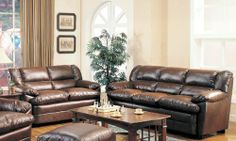 Harper Collection Overstuffed Brown Bonded Leather Sofa and Loveseat by Coaster Home Furnishings. $1087.74. Sofas and Sets. 2pc Sofa Set with Pillow Seat in Brown Bonded Leather. Some assembly may be required. Please see product details.. Sofas and Sets->Sofa Sets->Modern and Contemporary Leather Sofa Sets. You will receive a total of 1 loveseat and 1 sofa. Features overstuffed pillow top seating in a rich brown bonded leather. Matching chair and ottoman available separate...