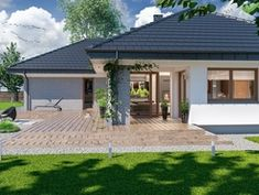 Wizualizacja ARP PADME 3 WZ CE House Front, My House, House Plans Mansion, Three Bedroom House Plan, Wrought Iron Doors, Garden Living, Construction Design, Architect House, Small House Design