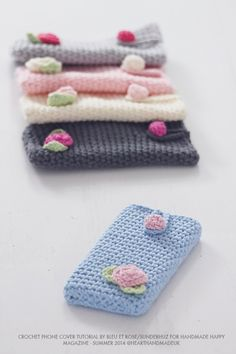 How to crochet an iphone cover - free crochet pattern by Bleu Et Rose ༺✿ƬⱤღ  http://www.pinterest.com/teretegui/✿༻