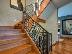 An Artistic Home Design For Your Inspiration Based On The Model In Denver : Stylish Home Design In Denver Colorado Steel Railing Stair Wooden Laminate Floor Pendant Lamp