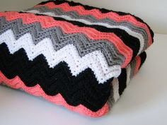Crocheted Chevron Blanket, Crocheted Throw, Black White Gray Coral Throw, Crocheted Lap Blanket - via Etsy. - Love the colours used (pattern not included Crochet Afghans, Crochet Stitches, Crochet Patterns, Crochet Blankets, Crochet Ideas, Love Crochet, Learn To Crochet, Crochet Baby, Knit Crochet