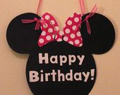 Simple Minnie Mouse Birthday Banner - Red or Pink Bow - Zebra - White Letters - Mickey Mouse Font - Mickey Mouse Banner. $19.50, via Etsy.