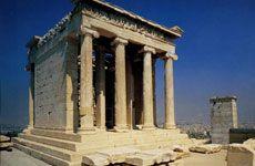 Templo de Atenea Nike  Arte griego en la Acrópolis de Atenas Columnas de orden jónico