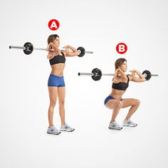 Barbell Front Squat http://www.womenshealthmag.com/fitness/trainers-favorite-total-body-exercises/barbell-front-squat
