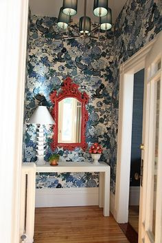 GORGEOUS SHINY THINGS - Chiang Mai Dragon wallpaper, white parsons table and ornate red lacquer mirror