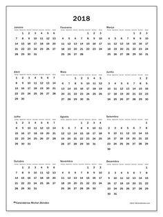 Calendário de  de 2018 (33DS). Calendário para imprimir livre.