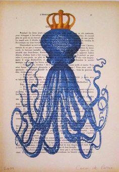 Octopus with golden crown Original Illustration Art by Cocodeparis