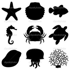 Dolphin Silhouette Art Sea Life Animals Sea By