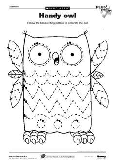 Trace Lines and Color Picture Worksheets - Preschool and Kindergarten - GRAFO - Preschool Printables, Preschool Worksheets, Preschool Activities, Tracing Worksheets, Owl Preschool, Early Years Teaching, Owl Classroom, Pre Writing, Writing Practice