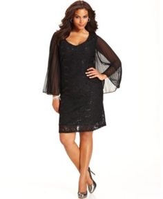Trixxi Plus Size Dress, Short-Sleeve Sequined Ruched - Plus Size ...