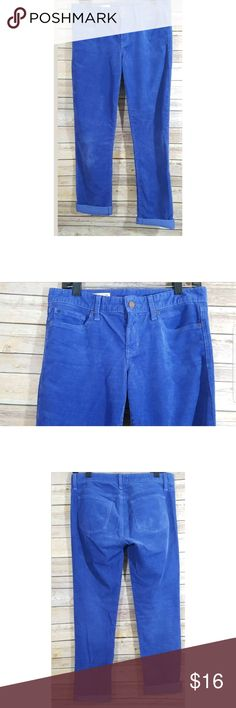 Gap 1969 Real Straight Corduroy Pants Great used condition   Up for sale is a pair of straight leg corduroy pants in a powerful blue color. It has 5 pockets   My Measurements  Waist-32  Rise-9  Inseam-31 GAP Pants Straight Leg