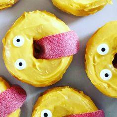 Smiley treats mini-donuts with yellow choco