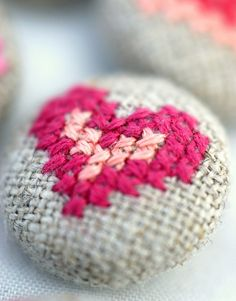 heart fabric covered button