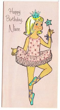 Vintage American Greeting Girl in Glittered Tutu Birthday Greeting Card