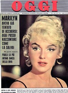 """Oggi - August 16th 1962, magazine from Italy. Front cover photo of Marilyn Monroe from the set of """"Let's Make Love"""", ca.1959-60."""