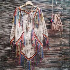 Indian poncho vest and many gorgeous boho inspirations! Gilet Crochet, Crochet Coat, Crochet Jacket, Crochet Cardigan, Crochet Scarves, Crochet Shawl, Crochet Clothes, Crochet Stitches, Sewing Tips