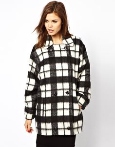 $121, White and Black Check Coat: French Connection Check Bunny Coat. Sold by Asos. Click for more info: https://lookastic.com/women/shop_items/127798/redirect