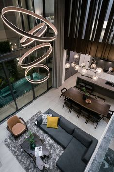 49 Gallery of The Rough House Interior – housedecor High Ceiling Living Room, Home Living Room, Living Room Designs, Living Room Decor, Living Room Lighting, Office Interior Design, Luxury Interior Design, Luxury Decor, Elegant Living Room