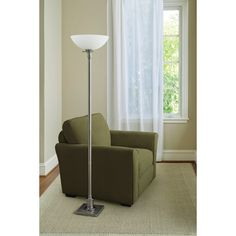 our floor lamp, brushed nickel and glass