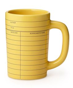 No need to keep browsing: bookworms will never want to return this bright yellow, shiny coffee cup. It's made to look like a vintage paper library card. You can actually write on it with Magic or dry erase markers (all ages will enjoy)—it'll wash right off in the dishwasher.