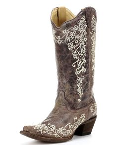 Dark brown distressed leather cowboy boots decorated with whimsical floral embroidery etched in cream-colored thread. - Country Outfitter