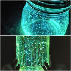 DIY Nightlight, just break open a few glow sticks and shake into a clean jar… Or use empty liquor bottles for adult party decor. ;) | FollowPics