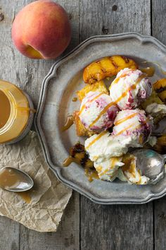 Grilled Peach  Cornbread Sundae featuring @smuckersrecipes Simple Delight Salty Caramel Ice Cream Topping   www.siftandwhisk.com. Check out @kitchendailypin for more #sundaefundae recipes!