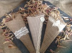 Handmade confetti cones from Lilly Dilly's  #wedding #confetti #cones #petals #hessian #lace #vintage