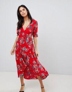 fc6816e9bf8d AX Paris | Ax Paris Floral Wrap Midi Dress Sunday Dress, Mi Long, Business