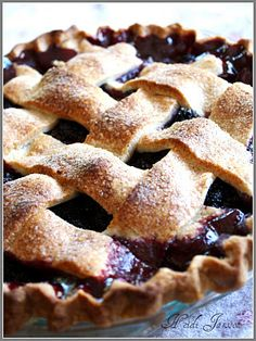 Marion Berry Pie! One of my Favorite Pies ever!  With fresh whipped cream.
