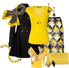"""""""Black & Yellow 2"""" by jaimie-a on Polyvore"""