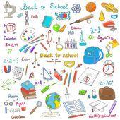 Dibujo a mano alzada artículos escolares — Archivo Imágenes Vectoriales