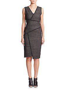 Elie Tahari Angela Paneled-Tweed Dress