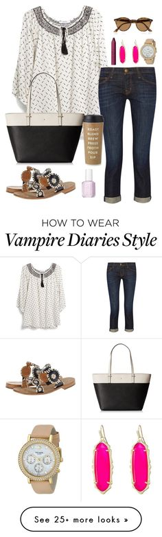 """""""vampire diaries marathon // day 280"""" by littlebitofeverything on Polyvore featuring MANGO, Kate Spade, Current/Elliott, Jack Rogers, tarte, Kendra Scott, Essie and Ray-Ban"""