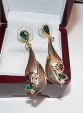 Gold tone Purple Xmas Green Rhinestone Pierced Earrings Mardi Gras NOLA 10c 30