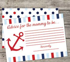 INSTANT DOWNLOAD Printable Nautical Baby Shower Mommy to Be Advice Card Game 5x7 Baby Boy Anchor Ahoy Its A Boy
